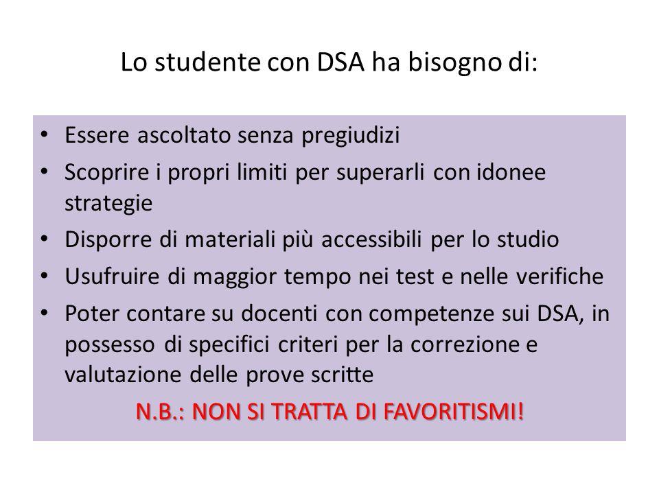 Lo studente con DSA ha bisogno di: