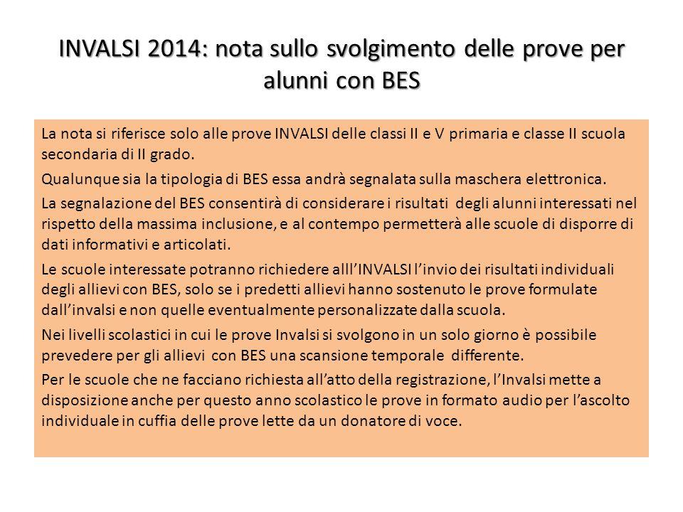 INVALSI 2014: nota sullo svolgimento delle prove per alunni con BES