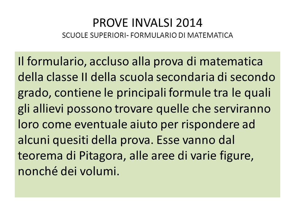 PROVE INVALSI 2014 SCUOLE SUPERIORI- FORMULARIO DI MATEMATICA