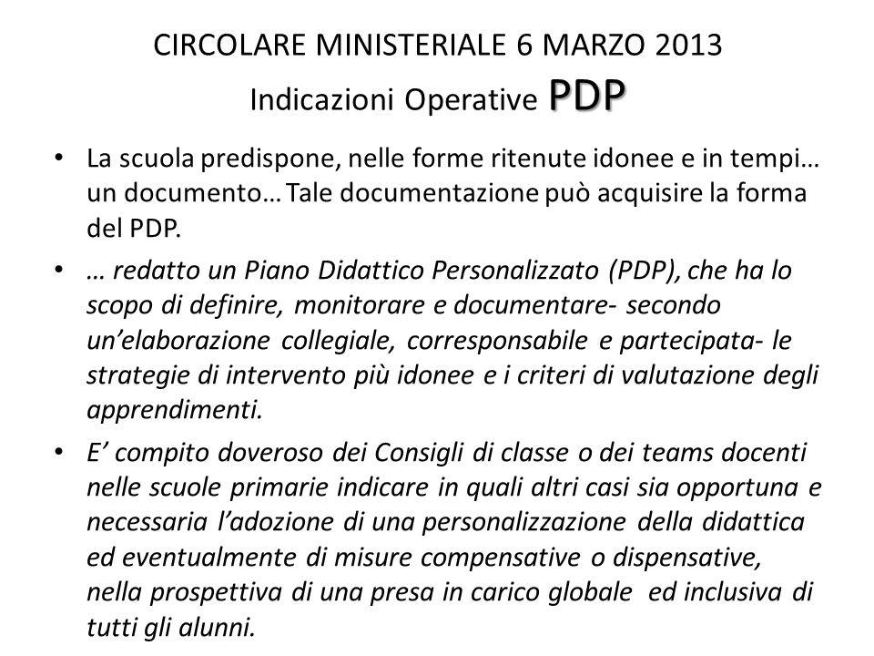 CIRCOLARE MINISTERIALE 6 MARZO 2013 Indicazioni Operative PDP