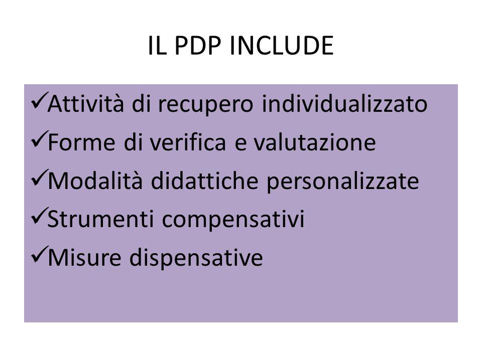 IL PDP INCLUDE Attività di recupero individualizzato
