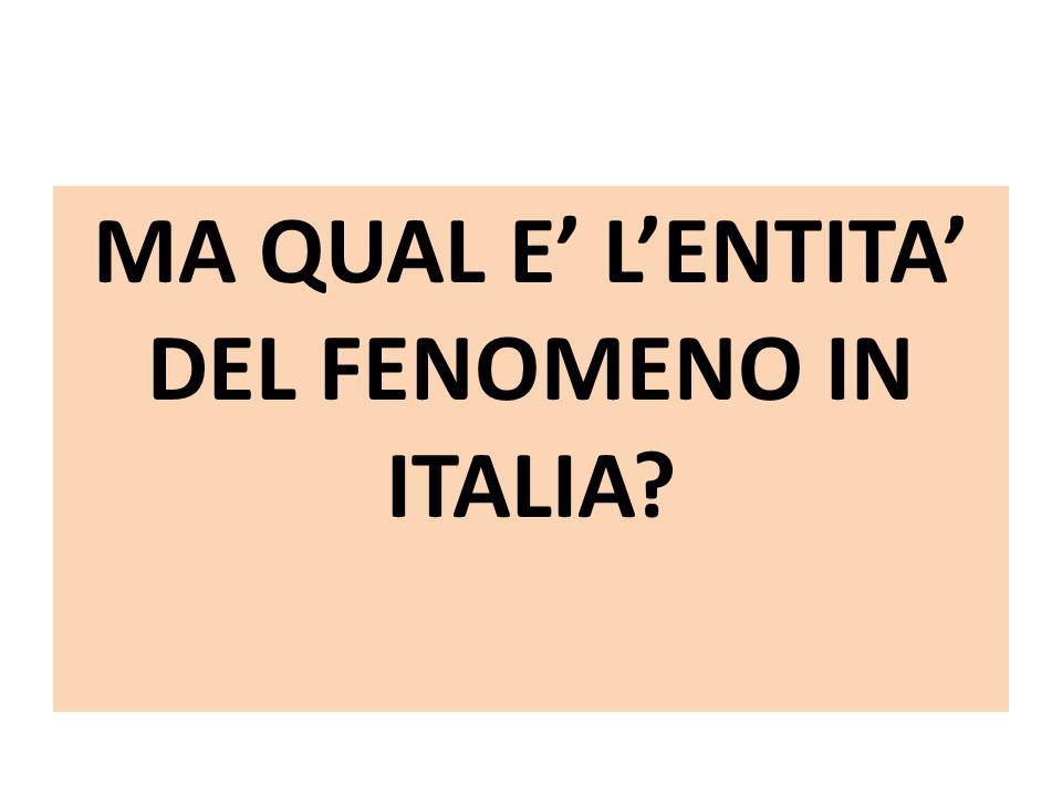 MA QUAL E' L'ENTITA' DEL FENOMENO IN ITALIA