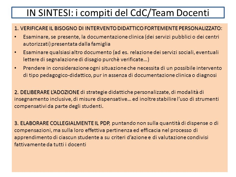 IN SINTESI: i compiti del CdC/Team Docenti