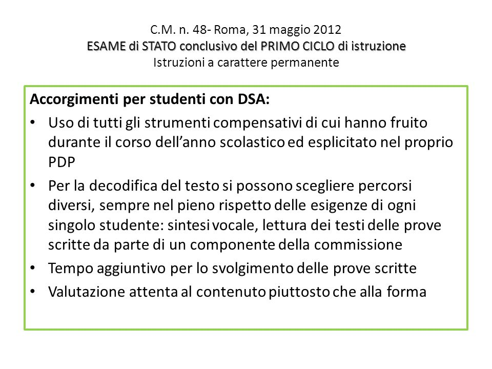 Accorgimenti per studenti con DSA: