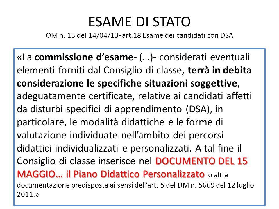 ESAME DI STATO OM n. 13 del 14/04/13- art