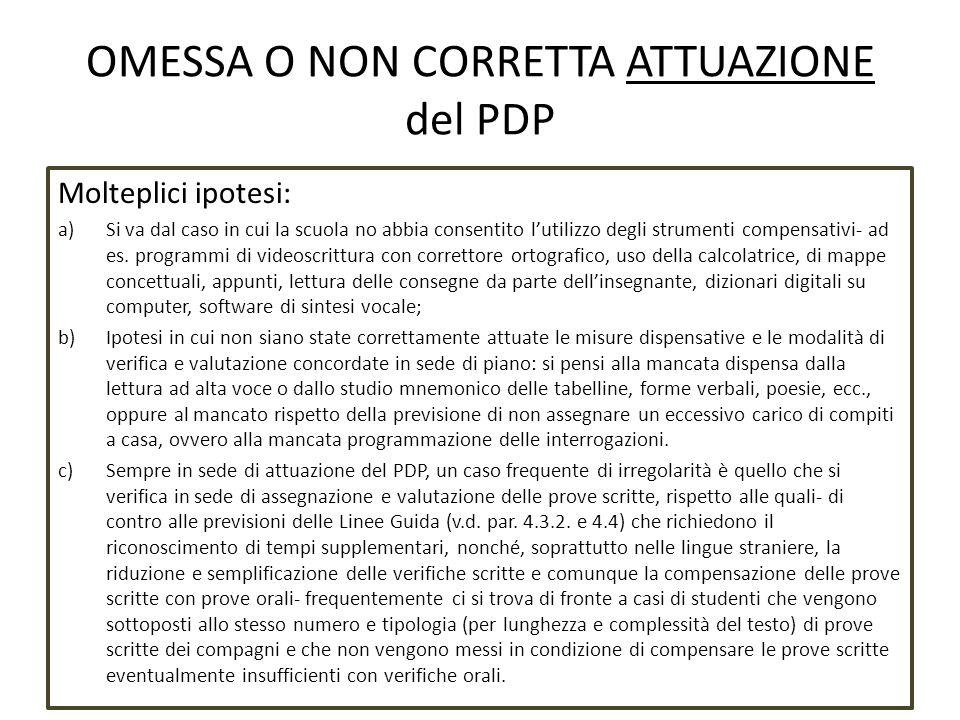 OMESSA O NON CORRETTA ATTUAZIONE del PDP