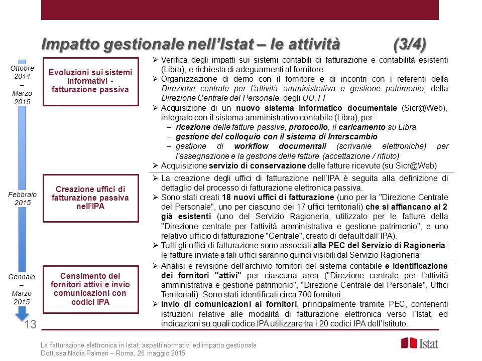Impatto gestionale nell'Istat – le attività (3/4)