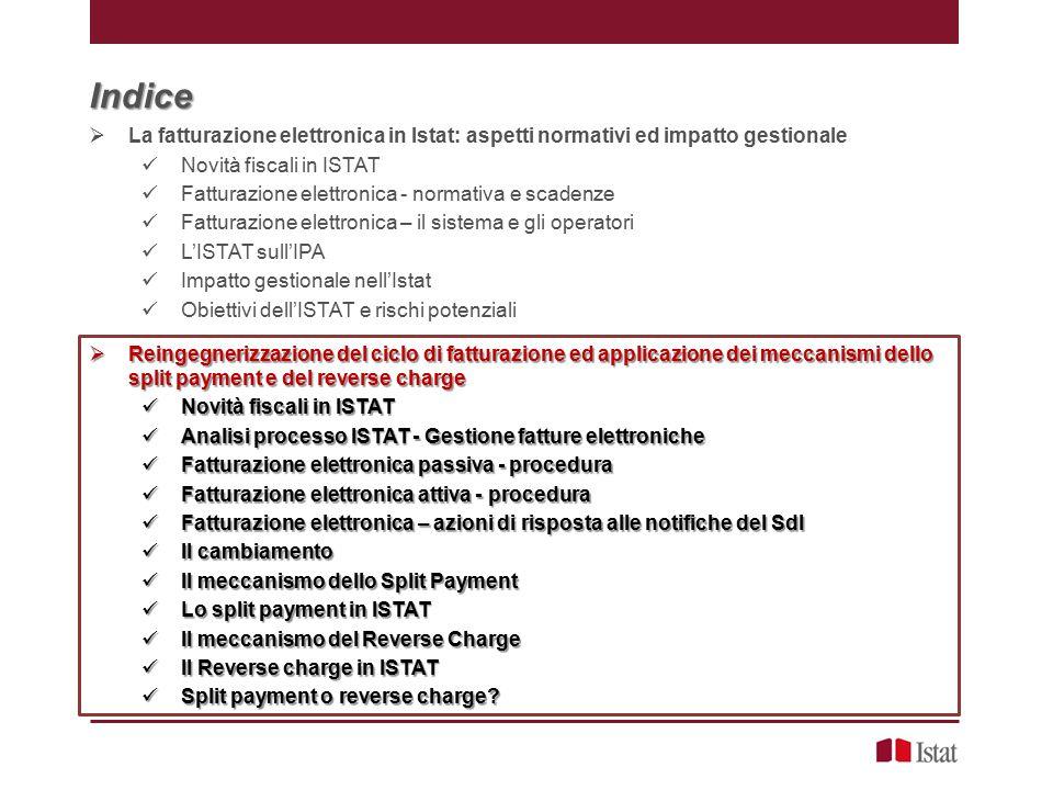 Indice La fatturazione elettronica in Istat: aspetti normativi ed impatto gestionale. Novità fiscali in ISTAT.