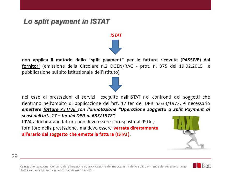Lo split payment in ISTAT