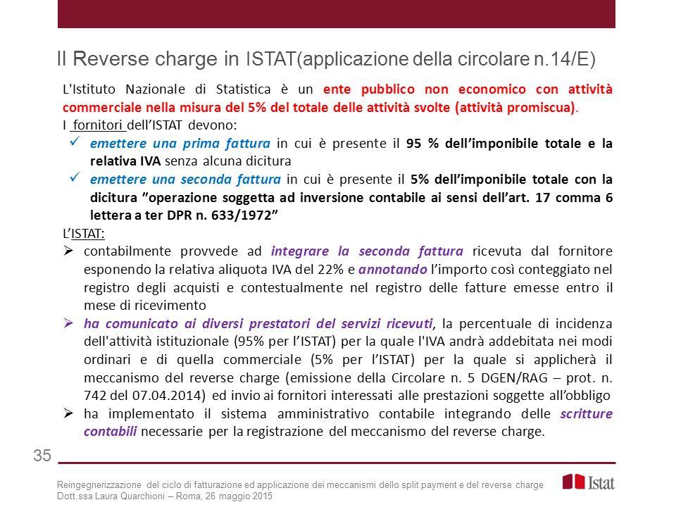 Il Reverse charge in ISTAT(applicazione della circolare n.14/E)