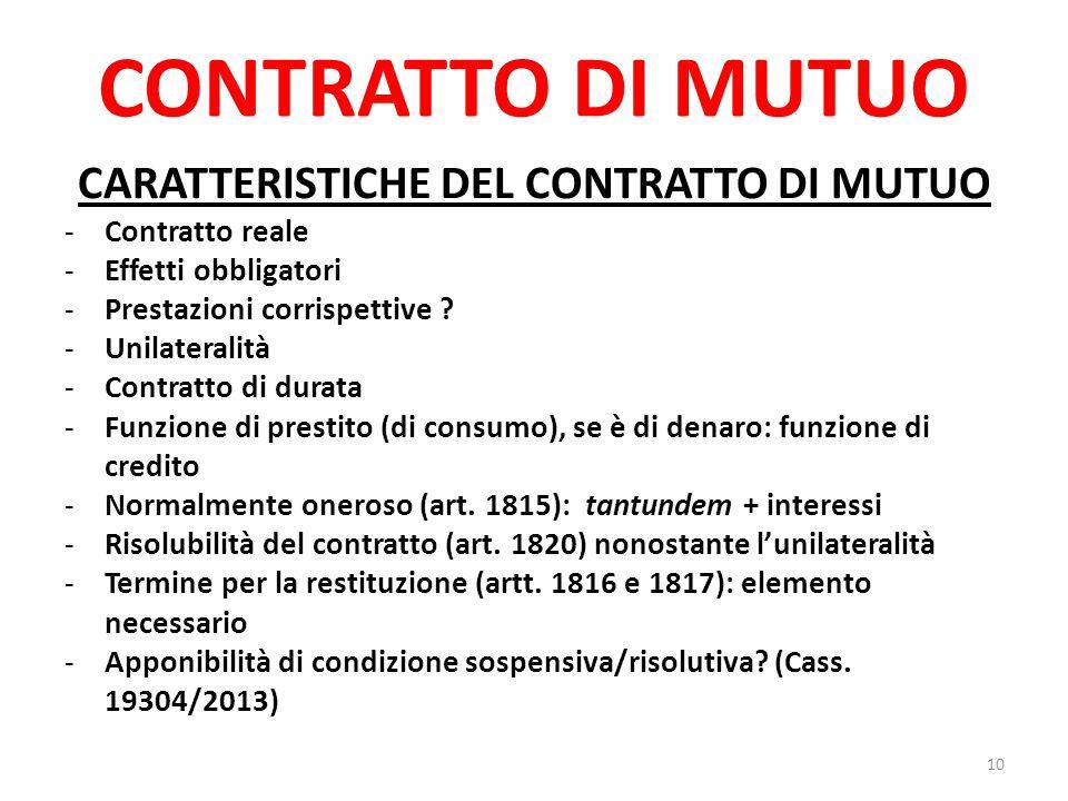 CARATTERISTICHE DEL CONTRATTO DI MUTUO