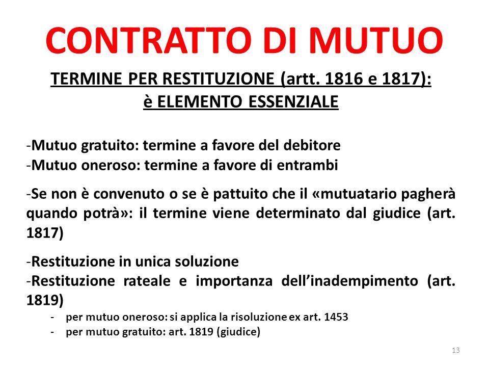 TERMINE PER RESTITUZIONE (artt. 1816 e 1817):