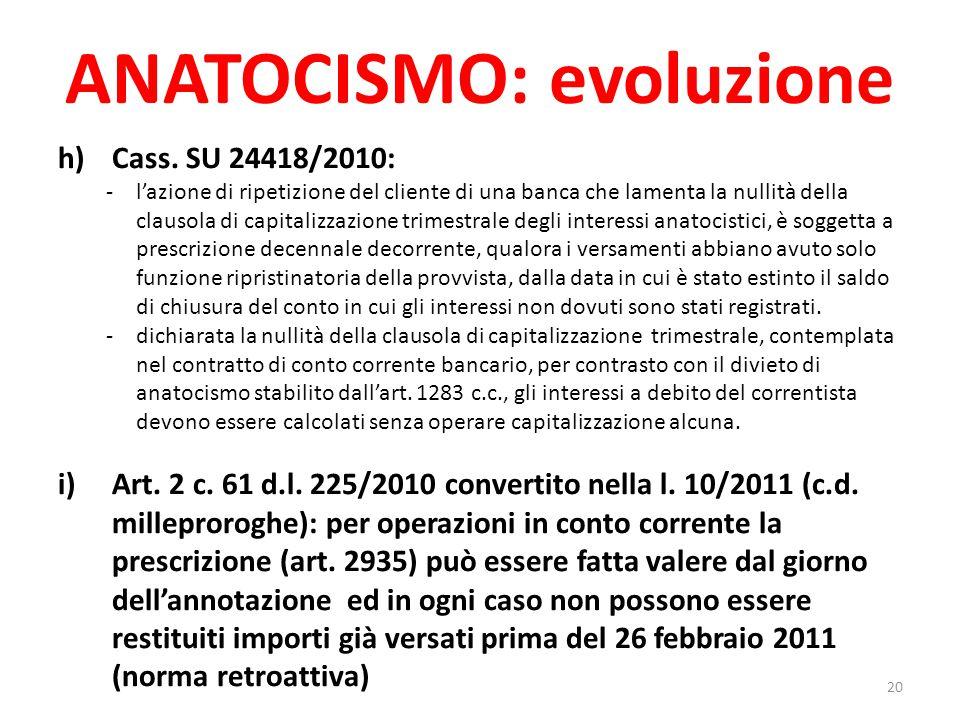 ANATOCISMO: evoluzione