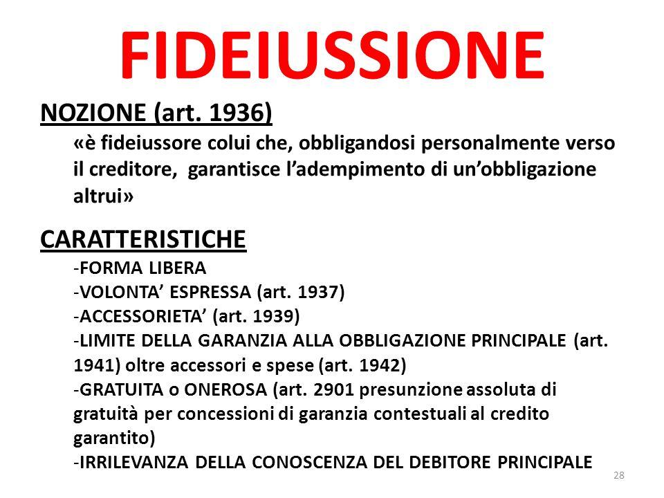 FIDEIUSSIONE NOZIONE (art. 1936) CARATTERISTICHE