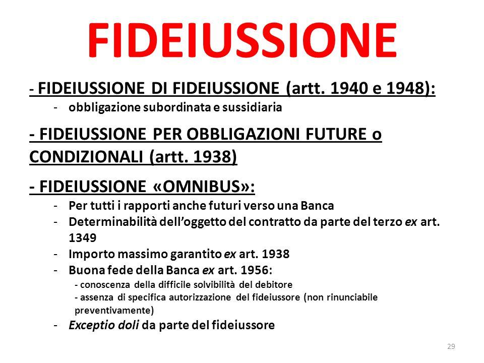 FIDEIUSSIONE - FIDEIUSSIONE DI FIDEIUSSIONE (artt. 1940 e 1948): obbligazione subordinata e sussidiaria.