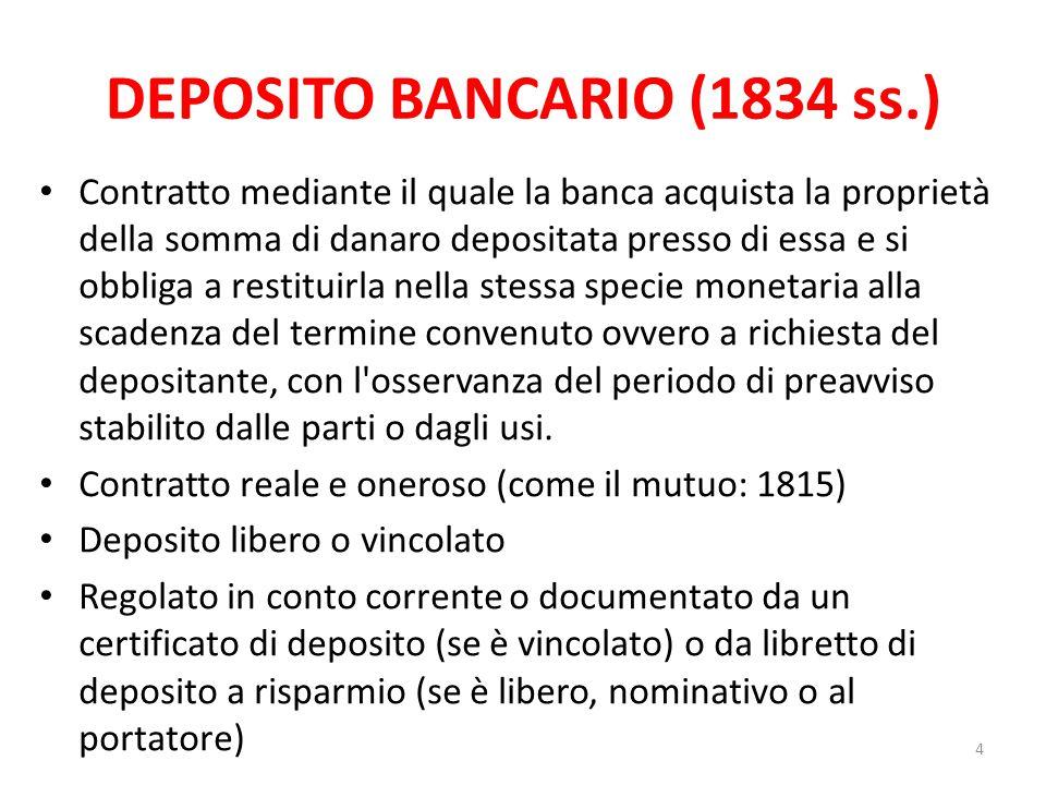 DEPOSITO BANCARIO (1834 ss.)