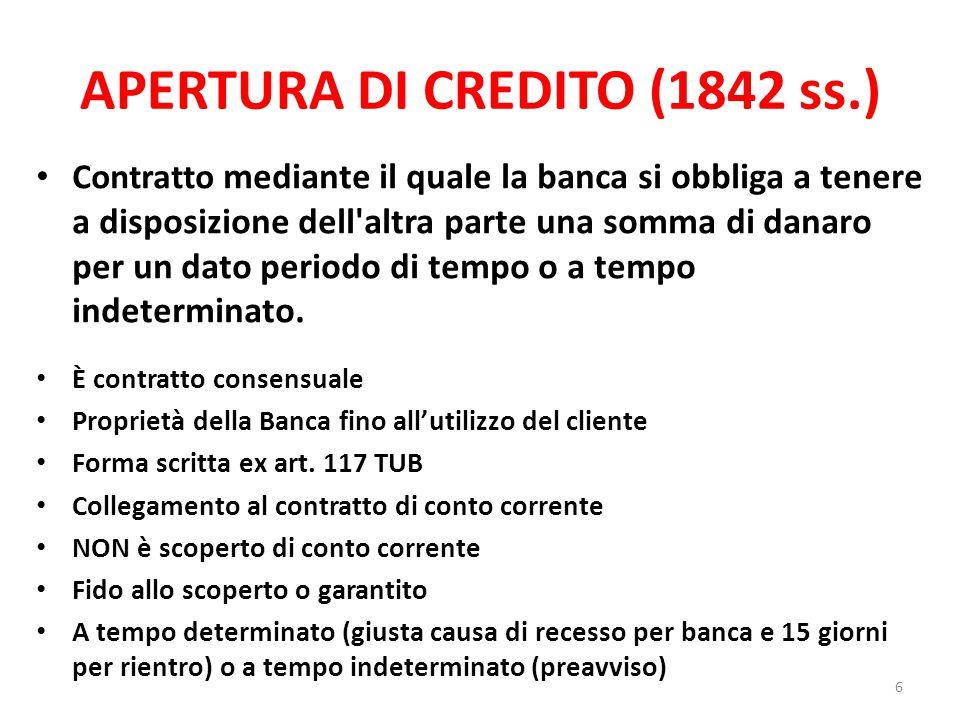 APERTURA DI CREDITO (1842 ss.)
