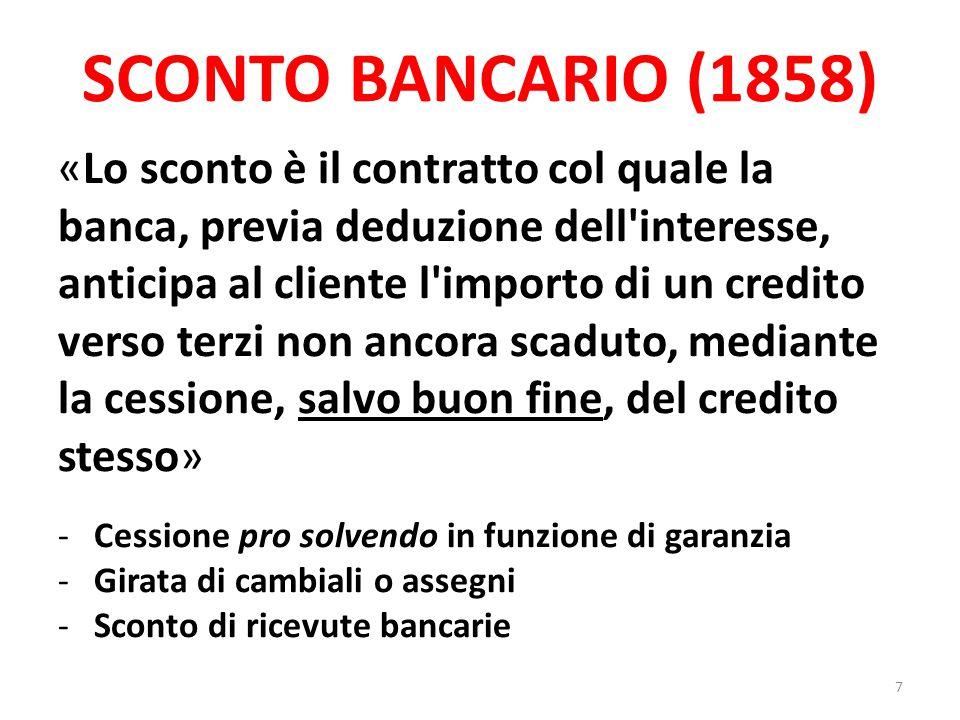 SCONTO BANCARIO (1858)