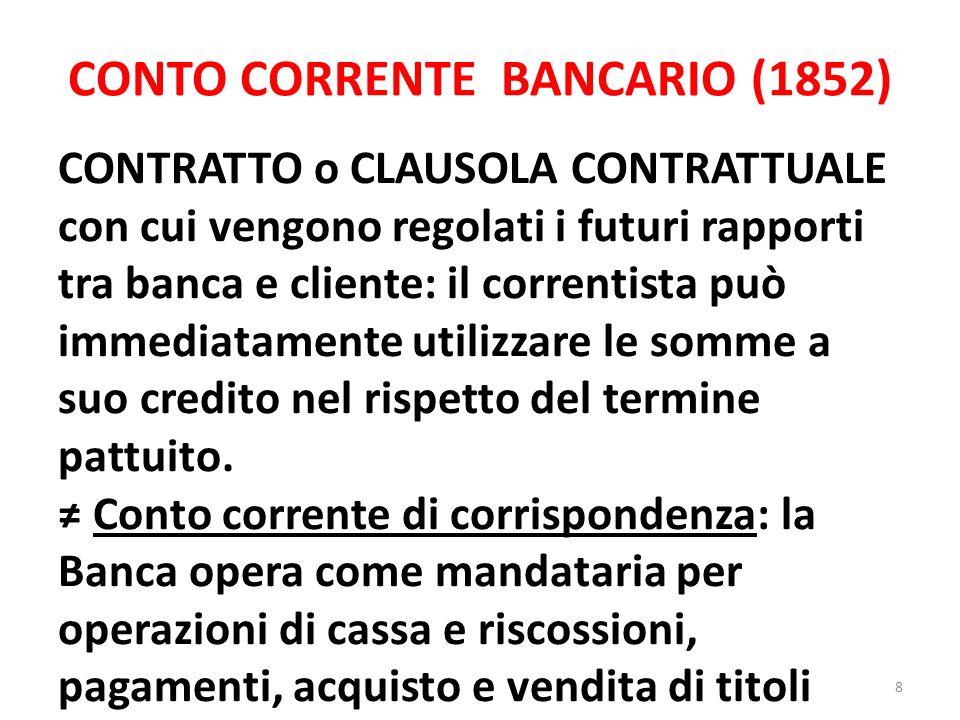 CONTO CORRENTE BANCARIO (1852)