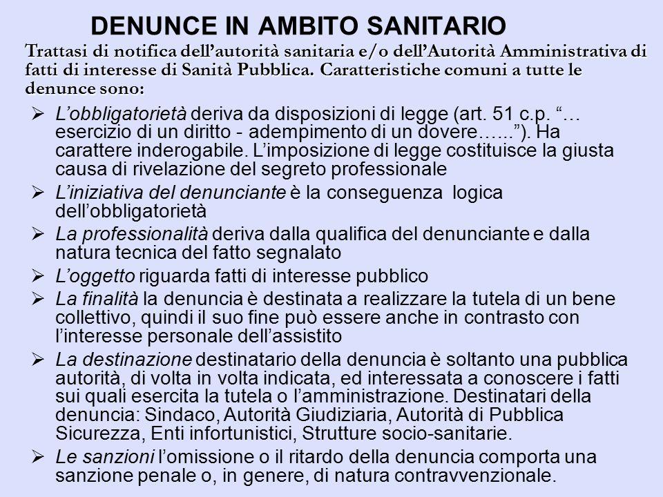 DENUNCE IN AMBITO SANITARIO