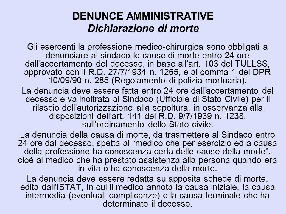 DENUNCE AMMINISTRATIVE Dichiarazione di morte