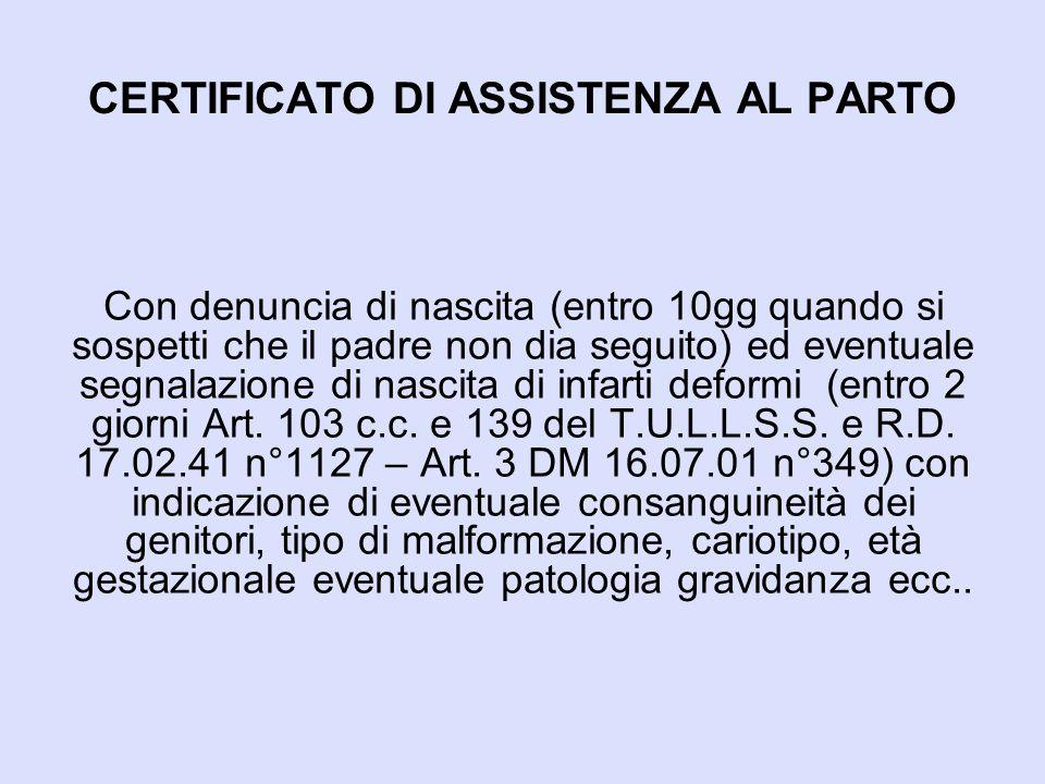 CERTIFICATO DI ASSISTENZA AL PARTO
