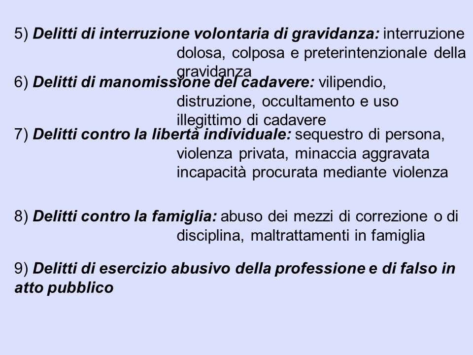 5) Delitti di interruzione volontaria di gravidanza: interruzione dolosa, colposa e preterintenzionale della gravidanza