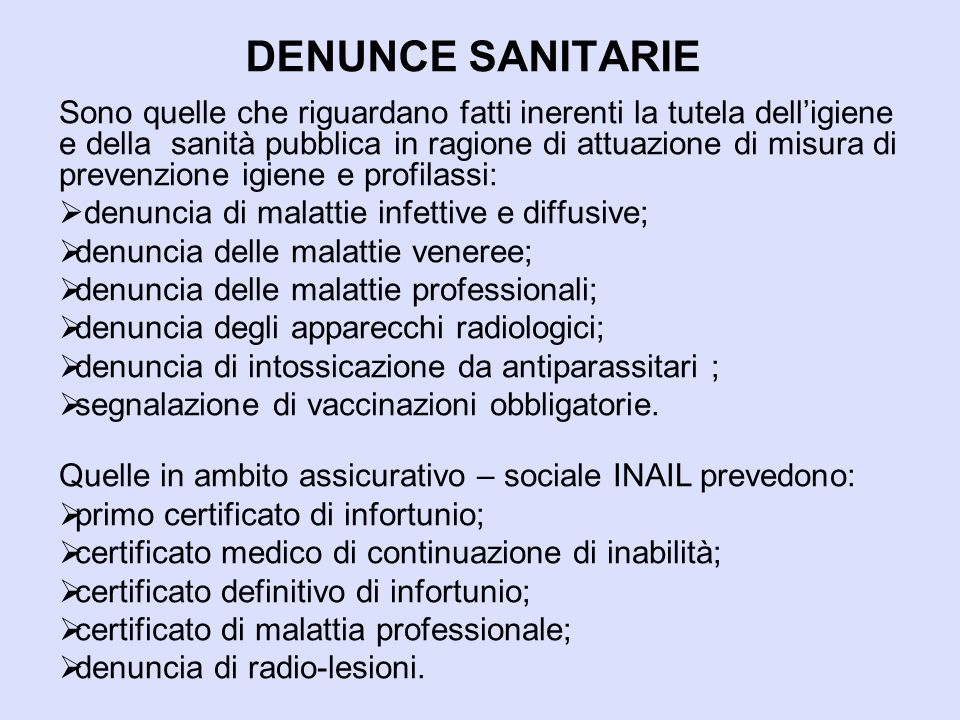 DENUNCE SANITARIE