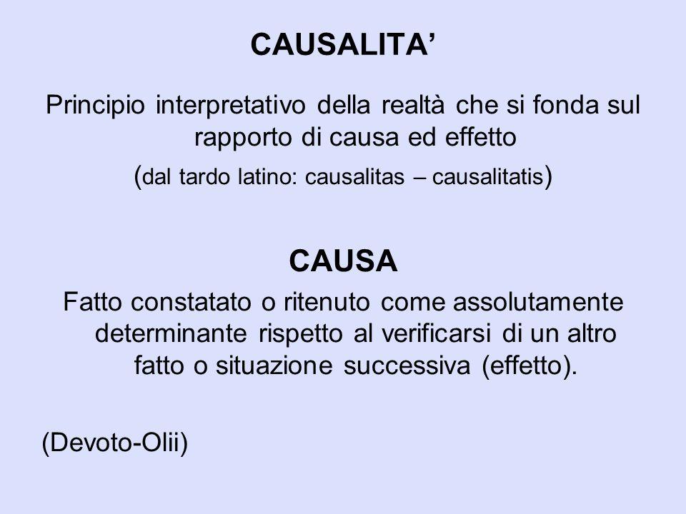 (dal tardo latino: causalitas – causalitatis)