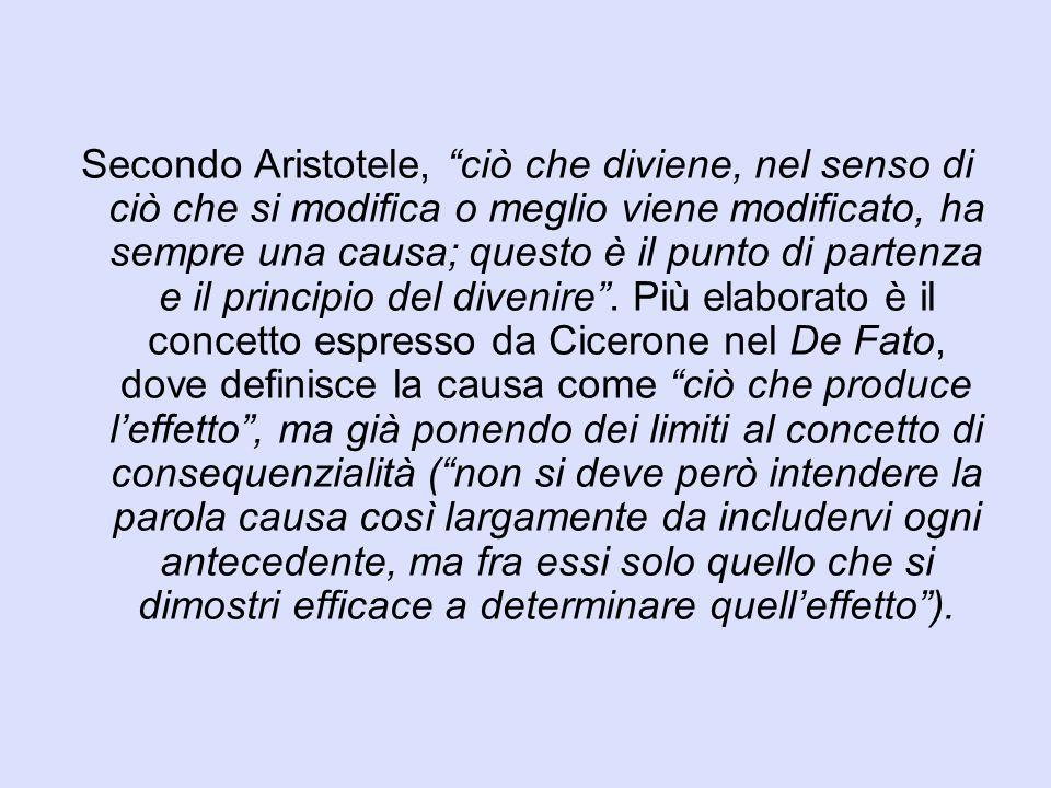 Secondo Aristotele, ciò che diviene, nel senso di ciò che si modifica o meglio viene modificato, ha sempre una causa; questo è il punto di partenza e il principio del divenire .