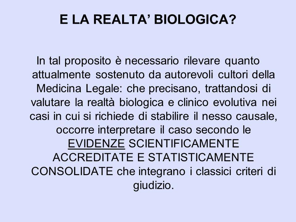 E LA REALTA' BIOLOGICA
