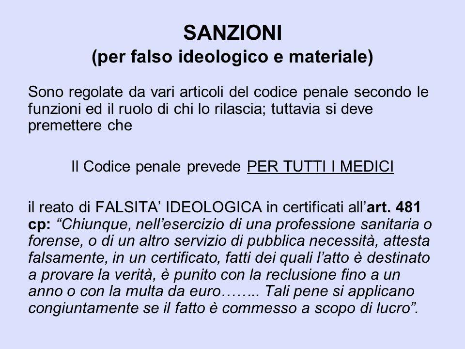 SANZIONI (per falso ideologico e materiale)