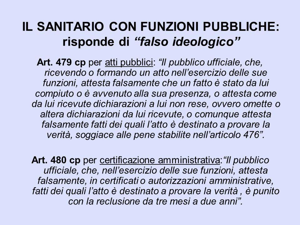 IL SANITARIO CON FUNZIONI PUBBLICHE: risponde di falso ideologico
