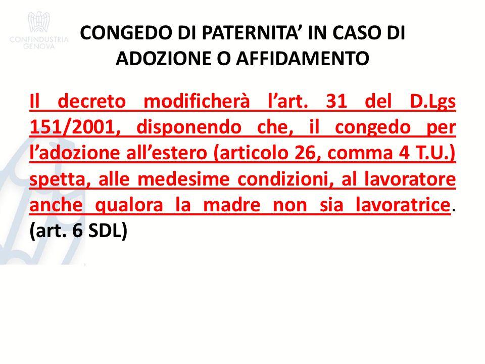CONGEDO DI PATERNITA' IN CASO DI ADOZIONE O AFFIDAMENTO