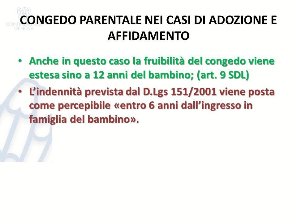 CONGEDO PARENTALE NEI CASI DI ADOZIONE E AFFIDAMENTO