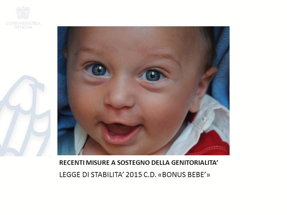 RECENTI MISURE A SOSTEGNO DELLA GENITORIALITA'