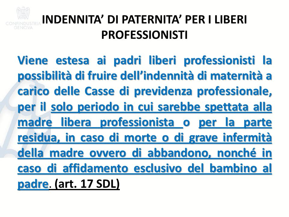 INDENNITA' DI PATERNITA' PER I LIBERI PROFESSIONISTI