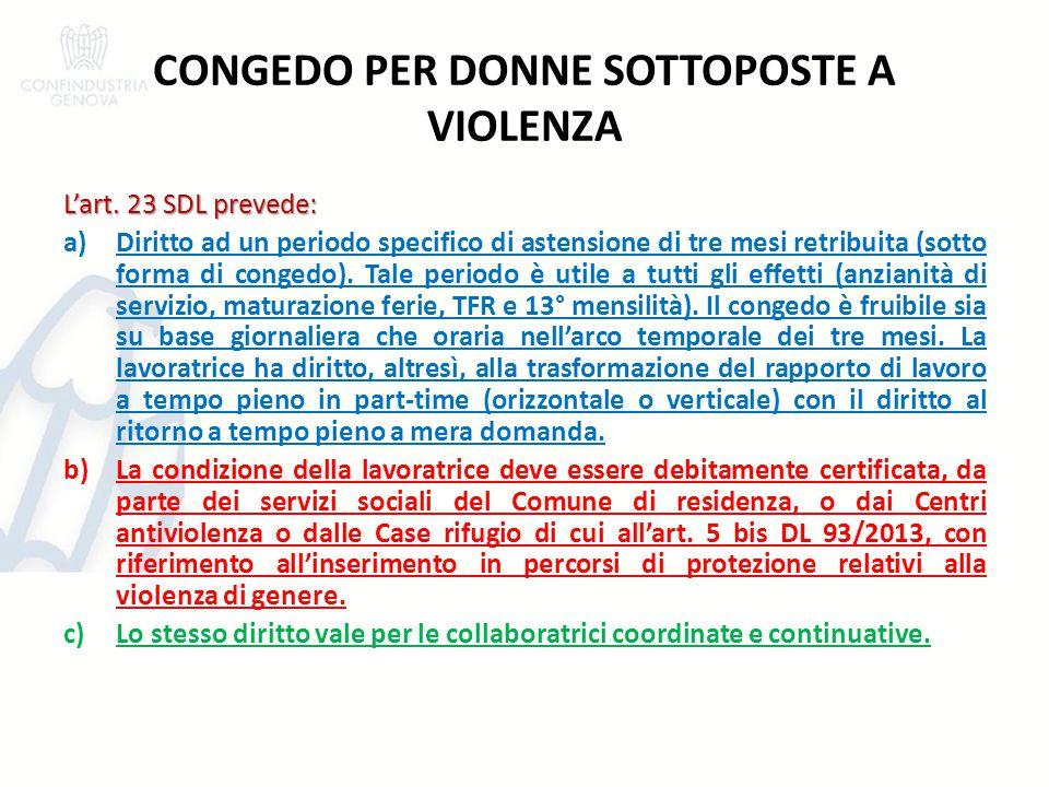 CONGEDO PER DONNE SOTTOPOSTE A VIOLENZA
