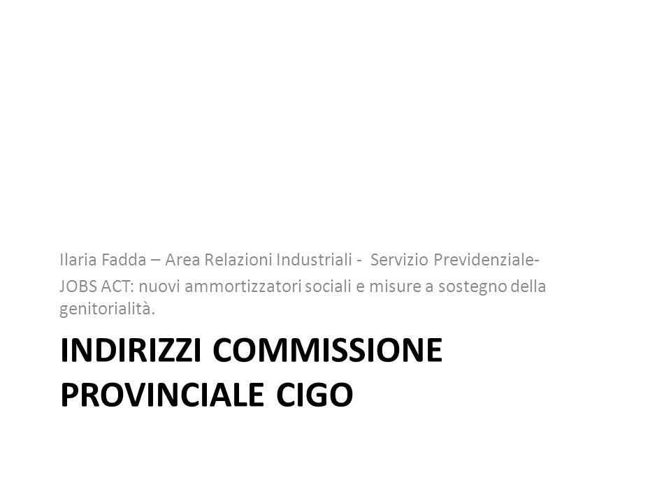 Indirizzi commissione provinciale cigo