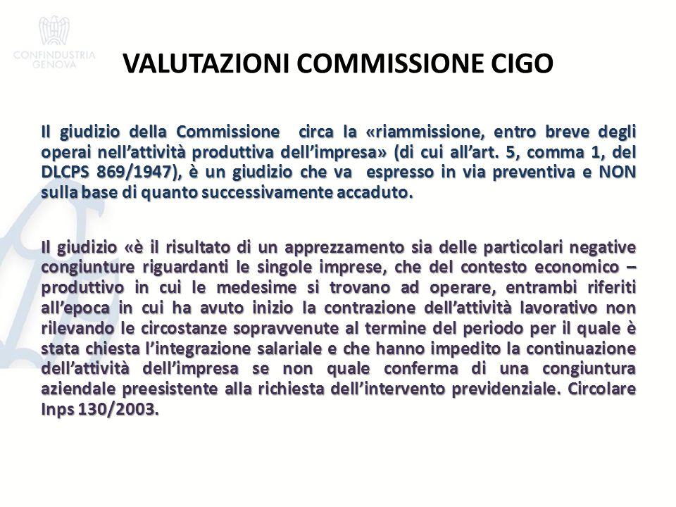 VALUTAZIONI COMMISSIONE CIGO