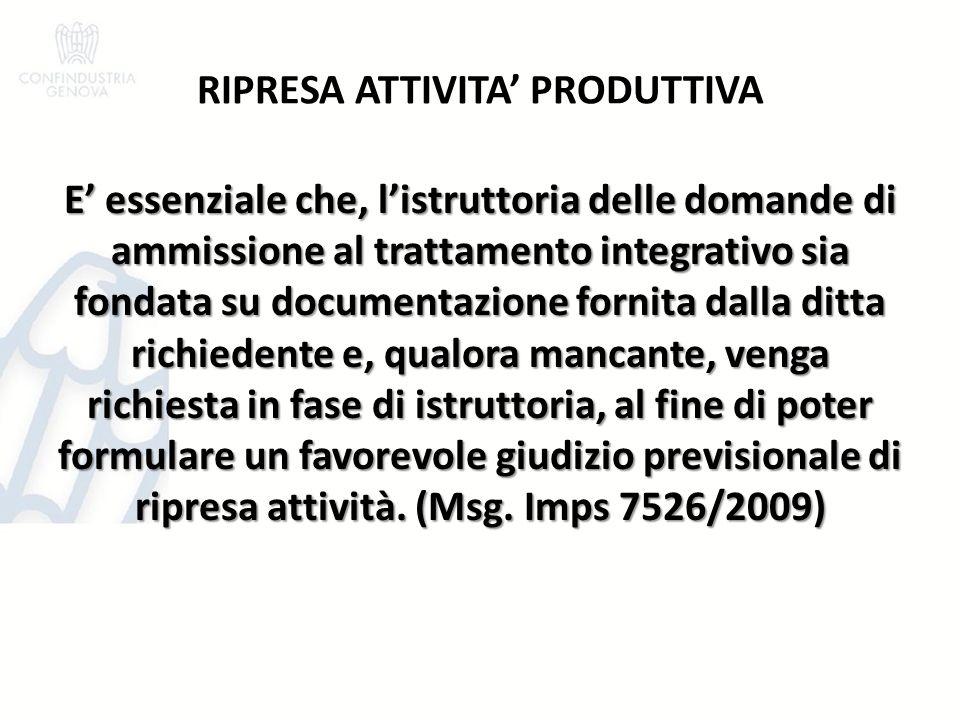 RIPRESA ATTIVITA' PRODUTTIVA