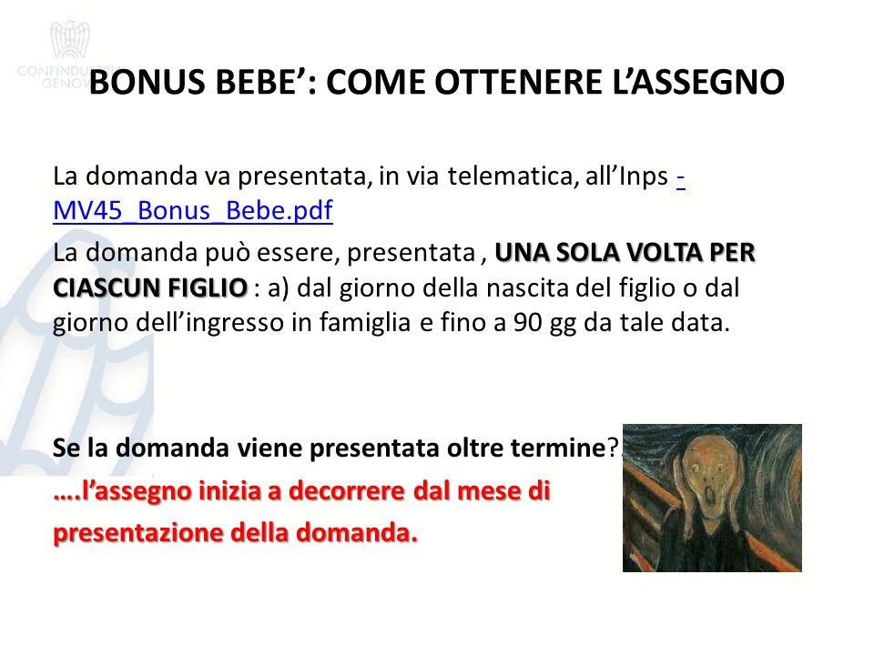 BONUS BEBE': COME OTTENERE L'ASSEGNO
