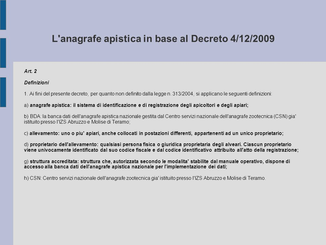L anagrafe apistica in base al Decreto 4/12/2009
