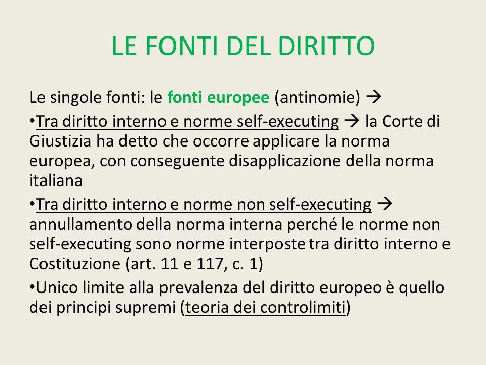 LE FONTI DEL DIRITTO Le singole fonti: le fonti europee (antinomie) 