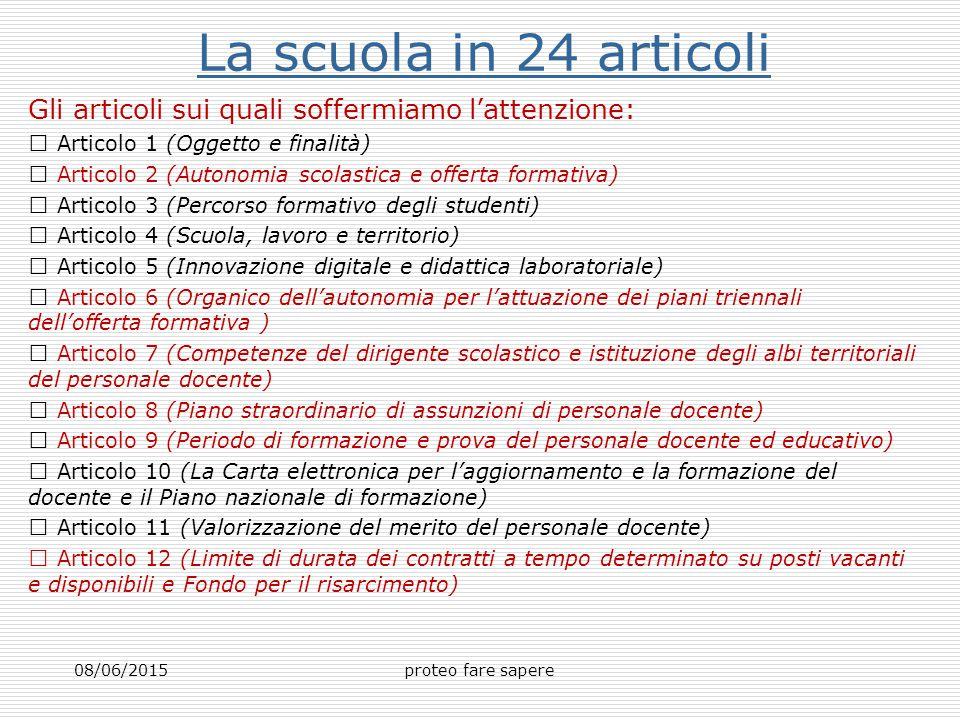 La scuola in 24 articoli Gli articoli sui quali soffermiamo l'attenzione:  Articolo 1 (Oggetto e finalità)
