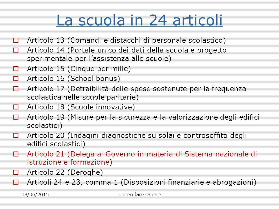 La scuola in 24 articoli Articolo 13 (Comandi e distacchi di personale scolastico)