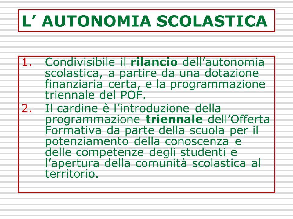 L' AUTONOMIA SCOLASTICA