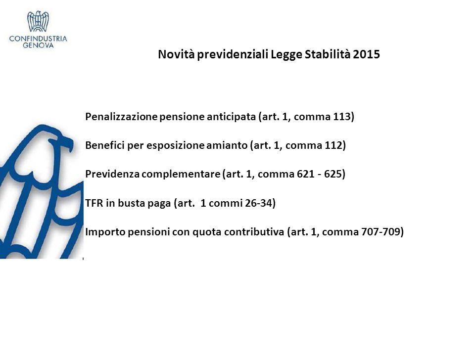Novità previdenziali Legge Stabilità 2015