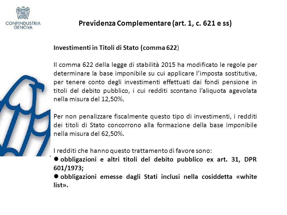 Previdenza Complementare (art. 1, c. 621 e ss)