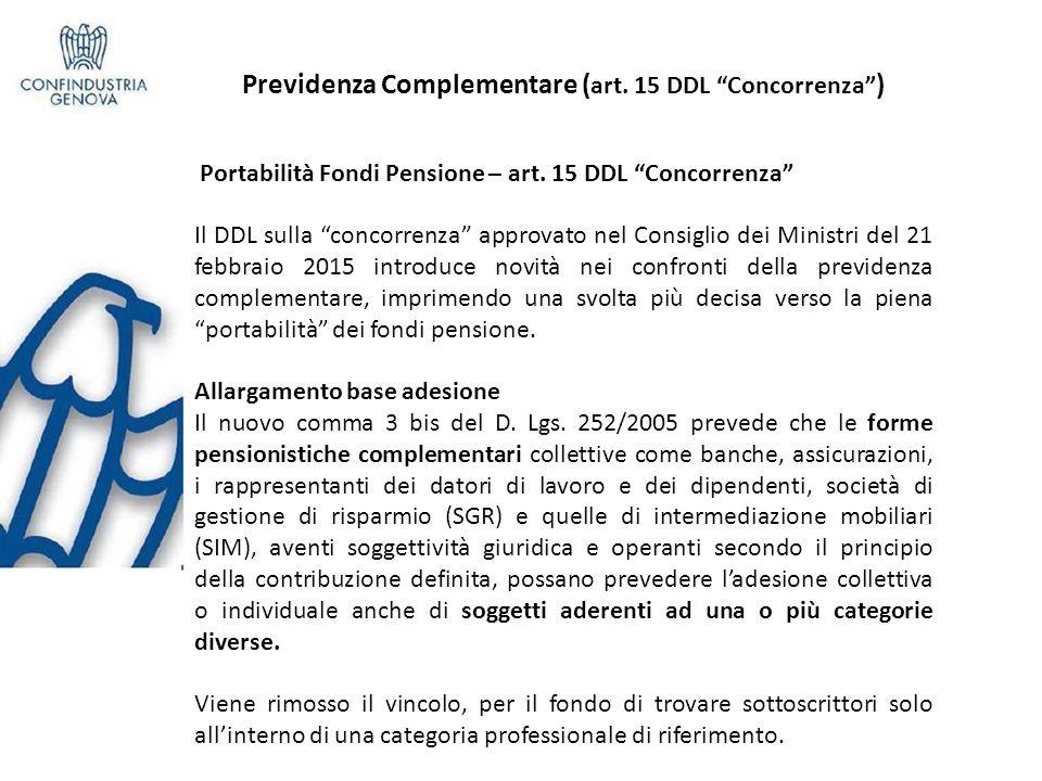 Previdenza Complementare (art. 15 DDL Concorrenza )